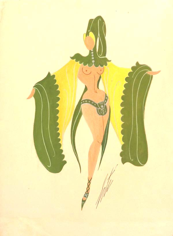 Ribaude by Erté | Gouache on paper, signed.  |