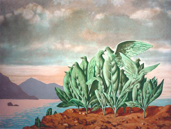 L'Ile au Trésor [Treasure Island] by René Magritte | Color lithograph. | c. 1979 – 1980