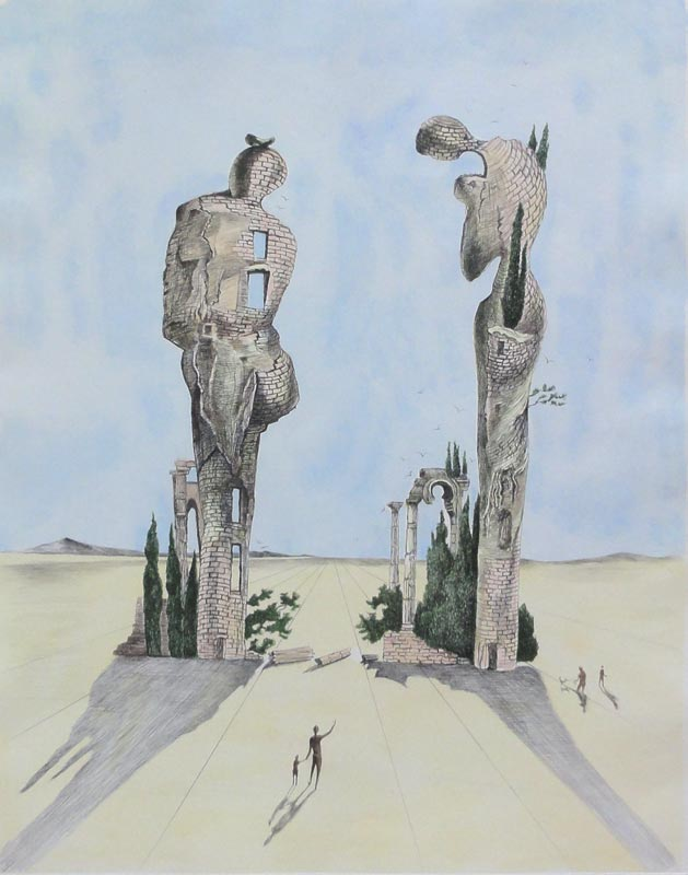 Étude pour l'Angelus de Millet [Study for Millet's Angelus] by Salvador Dalí | Color lithograph, hand signed. |