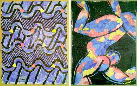 Colors and Waves Diptych by Charles Bilas | Acrylic and ink on paper, mounted on canvas. | 2008