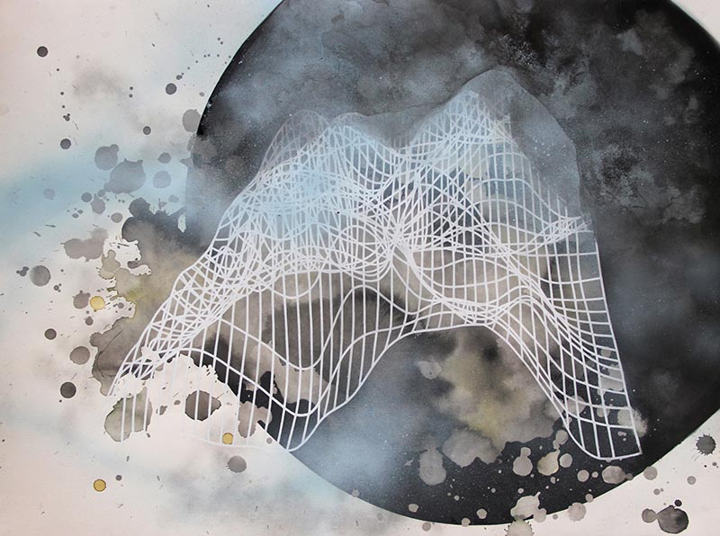 Skeleton III by Marie-Dolma Chophel | Ink, paint marker and spray paint on paper. | 2013