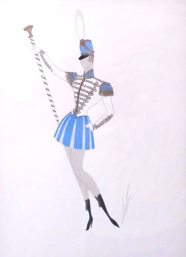 Majorette by Erté | Gouache on paper, signed. |