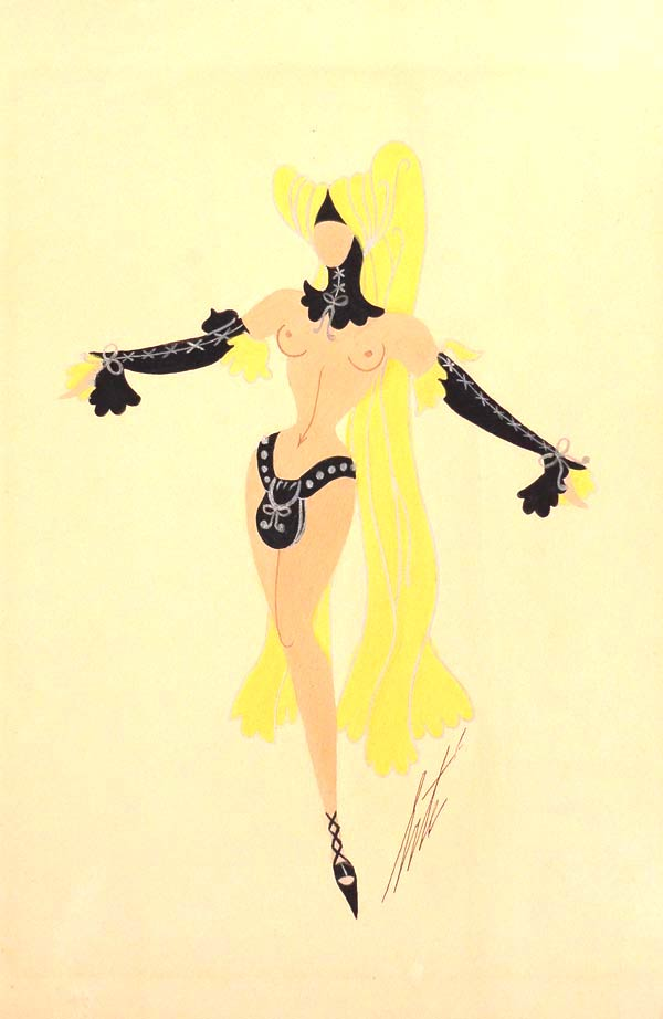 Ribaude (mannequins nus) by Erté | Gouache on paper, signed. |