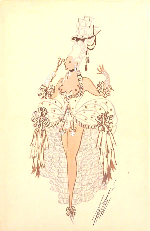 Une invitée de la crème by Erté | Gouache on paper, signed. |